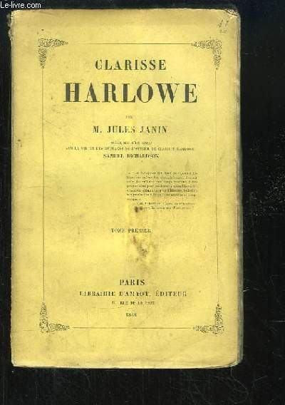 Clarisse Harlowe. TOME 1