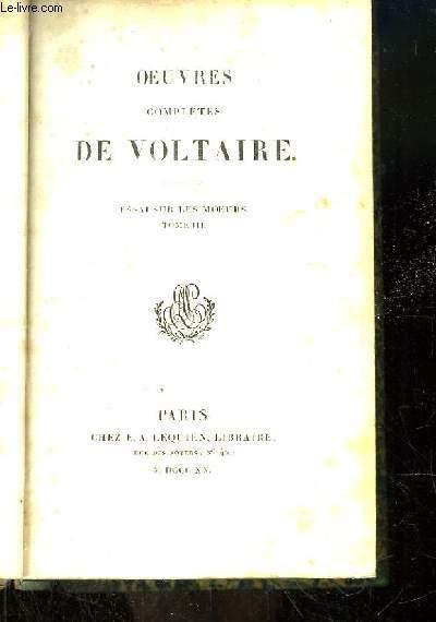 Oeuvres complètes de Voltaire. TOME 17 : Essai sur les Moeurs, Tome 3