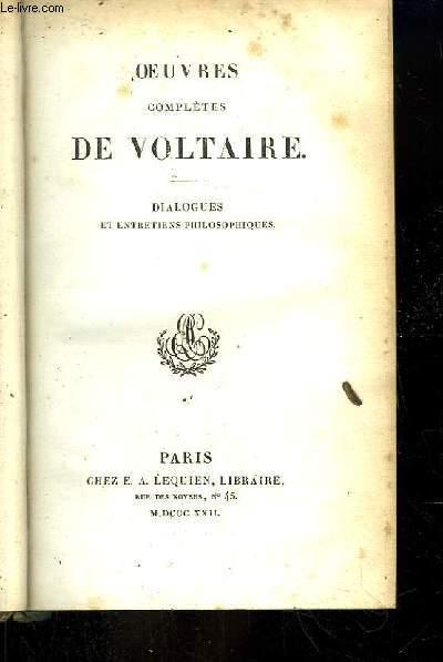 Oeuvres complètes de Voltaire. TOME 35 : Dialogues et Entretiens Philosophiques