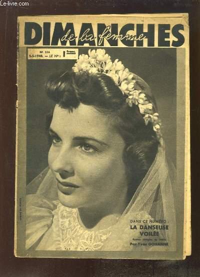 Dimanches de la Femme N°216 : La Danseuse Voilée (roman complet de Yves GOHANNE
