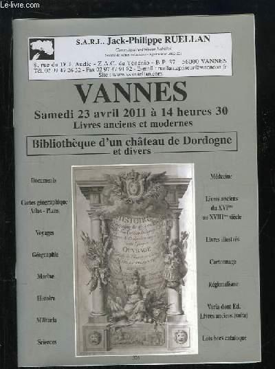 Catalogue de la vente aux enchères de la Bibliothèque d'un Château de Dordogne et divers, le 23 avril 2011 à Vannes.
