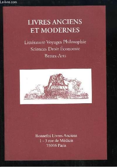Catalogue n°127 de la Librairie Bonnefoi, de Livres anciens et Modernes.
