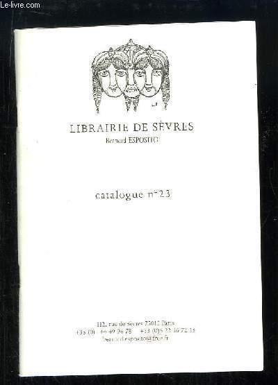 Catalogue n°23 de la Librairie de Sèvres,