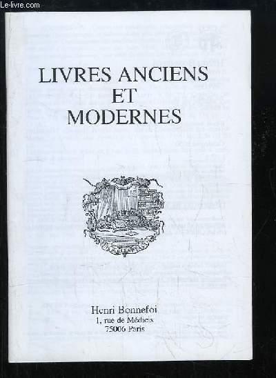 Catalogue n°50 de Livres Anciens et Modernes, de la Librairie