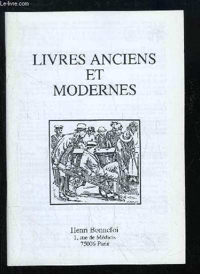 Catalogue n°51 de Livres Anciens et Modernes, de la Librairie