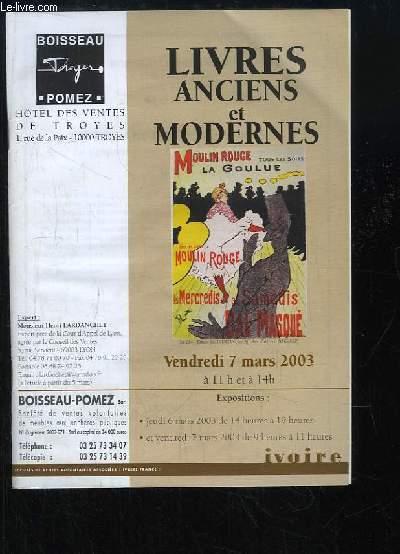 Catalogue de la Vente aux Enchères du 7 mars 2003 à l'Hôtel des Ventes de Troyes, de Livres Anciens et Modernes.