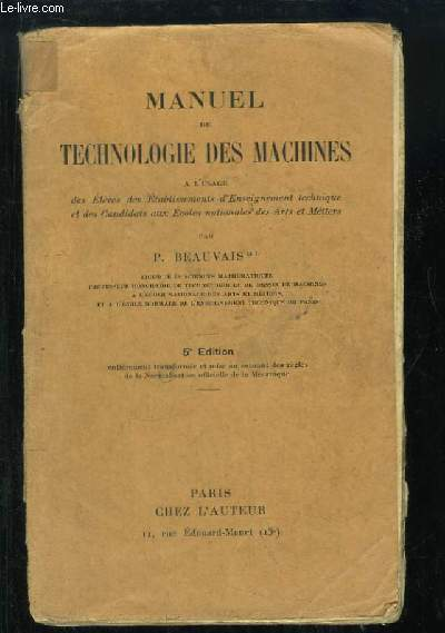 Manuel de Technologie des Machines.