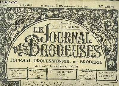 Le Journal des Brodeuses N°154 - 8e année : Combinaison jupon fillette - Pantalon assorti - Nappe d'Autel - Abat-jour tambourin - Trois chemises de jour - Motifs fantaisie - Monogrammes ...
