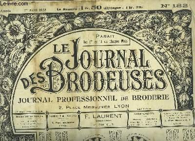 Le Journal des Brodeuses N°182 - 9e année : Bavoir - Combinaison jupon - Garniture de drap - Brassard communiant - Alphabet pour lingerie ...
