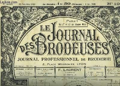 Le Journal des Brodeuses N°195 - 9e année : Dessous de compotier - Motifs pour mouchoirs - Napperon - Dessus de plateau - Sujets religieux ...