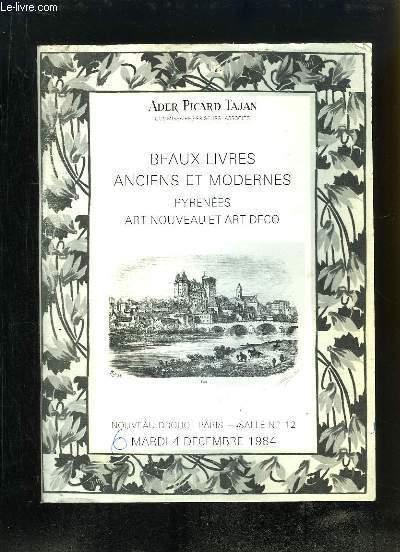 Catalogue de la Vente aux Enchères du 4 décembre 1984 au Nouveau Drouot, de Beaux Livres anciens et modernes, Pyrénées, Art Nouveau et Art Déco.