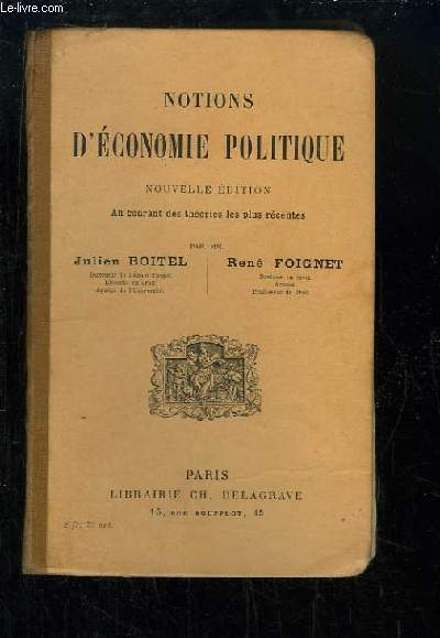 Notions d'Economie Politique.
