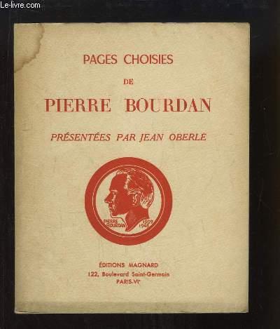Pages choisies de Pierre Bourdan, présentées par Jean OBERLE.