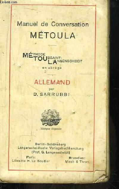 Allemand. Manuel de Conversation METOULA (Méthode Toussaint-Langenscheidt).
