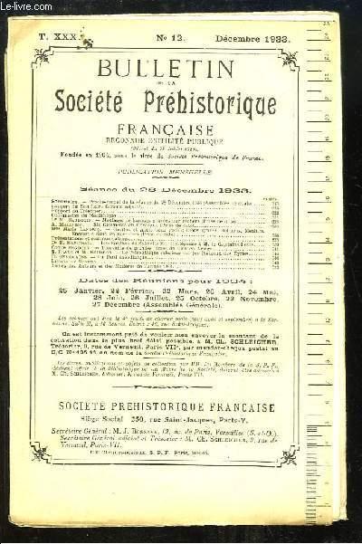Bulletin de la Société Préhistorique Française. N°12 - Tome 30 : Moulage de barques gravées  sur rochers - Les Eolithes de Salinelle (Gard) - Un Dard énéolithique ...