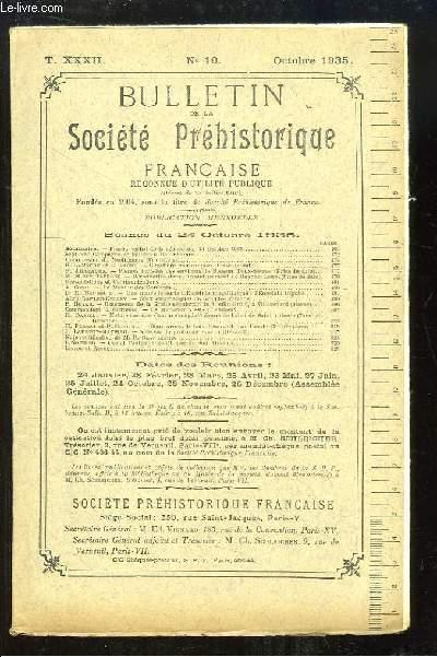 Bulletin de la Société Préhistorique Française. N°10 - Tome 32 : Cimetière mérovingien - Pierres incisées des environ de Bougon - Le Menhir des Goulards - Note sur la Grotte de Fauzan (Hérault) ...