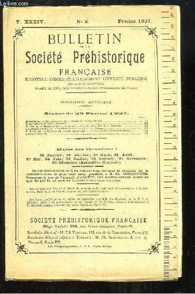 Bulletin de la Société Préhistorique Française. N°2 - Tome 34 : Terrasses et quartzites taillés de la Haute-Vallée de la Garonne - La Préhistoire dans la région de Damas ...