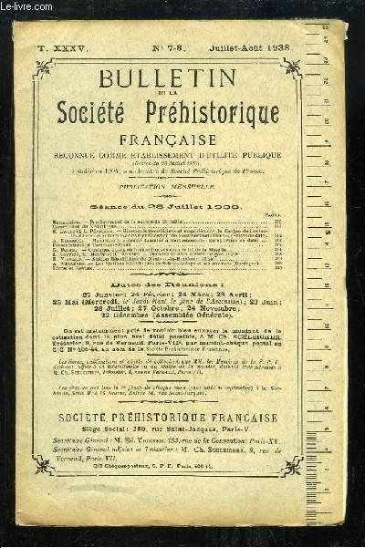 Bulletin de la Société Préhistorique Française. N°7 / 8 - Tome 35 : Gisements moustériens et magdaléniens du Canton de Lussac-les-Châteaux et Dolmen de Montmorillon - Stations Néolithiques de Sainte-Aulaye (Dordogne) ...