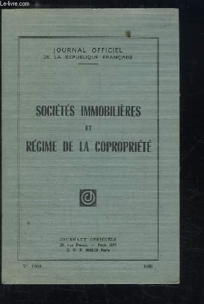 Sociétés immobilières et Régime de la copropriété.