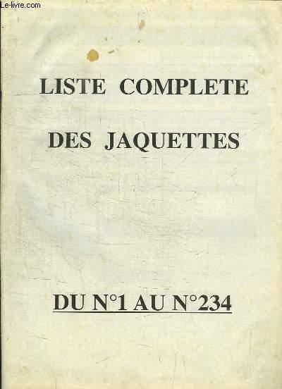 Liste complète des jaquettes, du N°1 au N°234