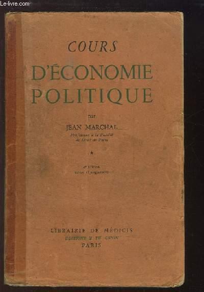 Cours d'Economie Politique. TOME Ier