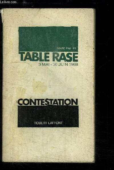 Table Rase, 30 mai - 30 juin 1968