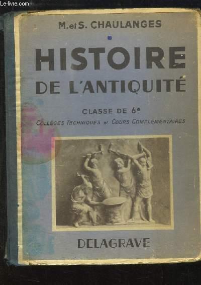 Histoire de l'Antiquité. Classe de 6ème