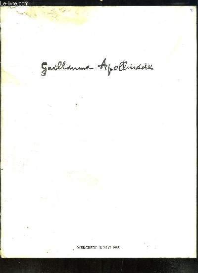 Collection Guillaume Apollinaire et Collection d'un Amateur. Catalogue de la Vente aux Enchères du 18 mai 1988 à Drouot.