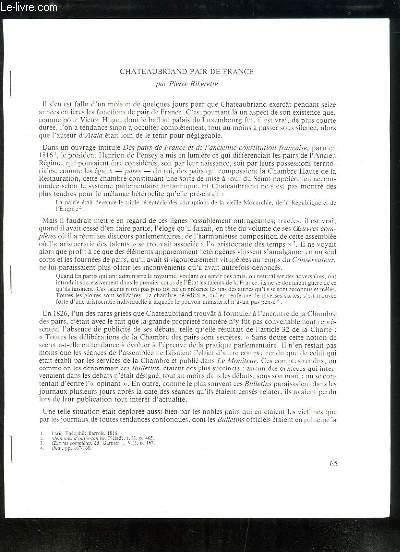 Chateaubriand Pair de France - Tirage-à-part du Bulletin de la Société de Chateaubriand