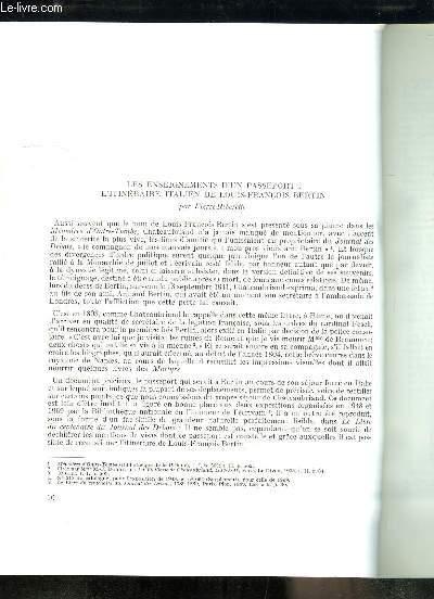 Les enseignements d'un passeport : l'itinéraire italien de Louis-François Bertin - Tirage-à-part du Bulletin de la Société de Chateaubriand, n°14