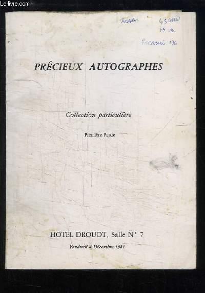 Précieux Autographes - Collection particulière, 1ère partie. Catalogue de la Vente aux Enchères du 4 décembre 1981 à l'Hôtel Drouot