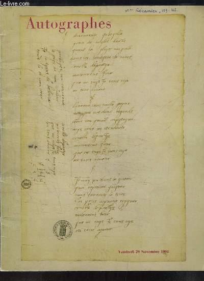 Autographes. Catalogue de la Vente aux Enchères du 29 novembre 1991 à l'Hôtel Drouot.