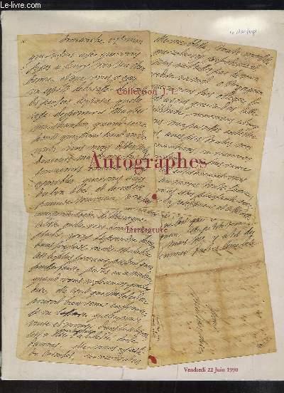 Collection J.L. - Autographes, Littérature. Catalogue de la Vente aux Enchères du 22 juin 1990 à l'Hôtel Drouot.