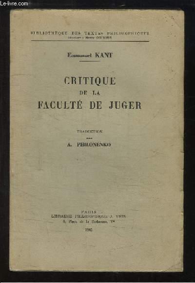 Critique de la Faculté de Juger.
