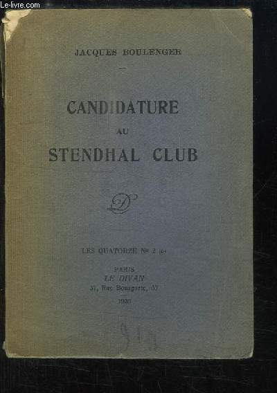Candidature au Stendhal Club.