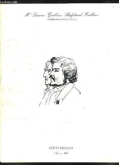 Catalogue de la Vente aux Enchères Publiques du 5 février 1993, à Drouot-Richelieu. Livres - Autographes et documents précieux.