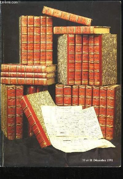 Catalogue de la Vente aux Enchères Publiques des 10 et 11 décembre 1991, au Drouot-Richelieu. Autographes.