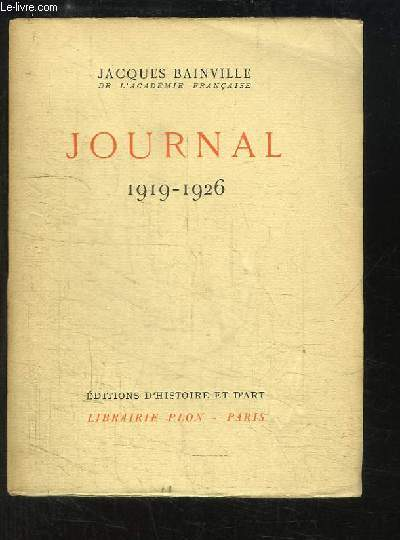 Journal  TOME VIII : 1919 - 1926