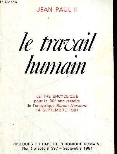 LE TRAVAIL HUMAIN 14 SEPTEMBRE 1981