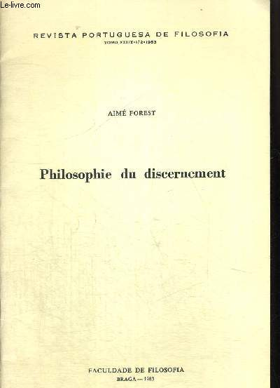 PHILOSOPHIE DU DISCERNEMENT