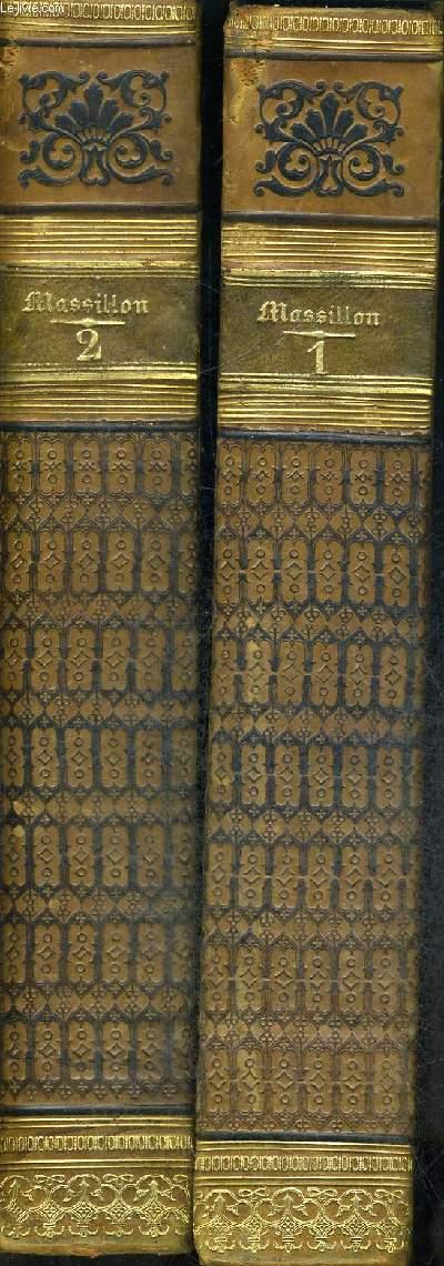 OEUVRES DE MASSILLON - DEUX TOMES EN DEUX VOLUMES - TOME PREMIER - AVENT - CAREME - PETIT CAREME - ORAISONS FUNEBRES - TOME DEUXIEME - MYSTERES - PANEGYRIQUES - CONFERENCES - PARAPHRASES SUR LES PSAUMES - PENSEES
