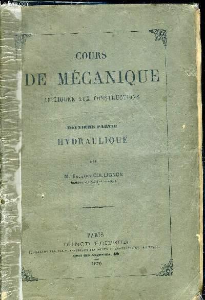 COURS DE MECANIQUE APPLIQUEE AUX CONSTRUCTIONS - DEUXIEME PARTIE HYDRAULIQUE