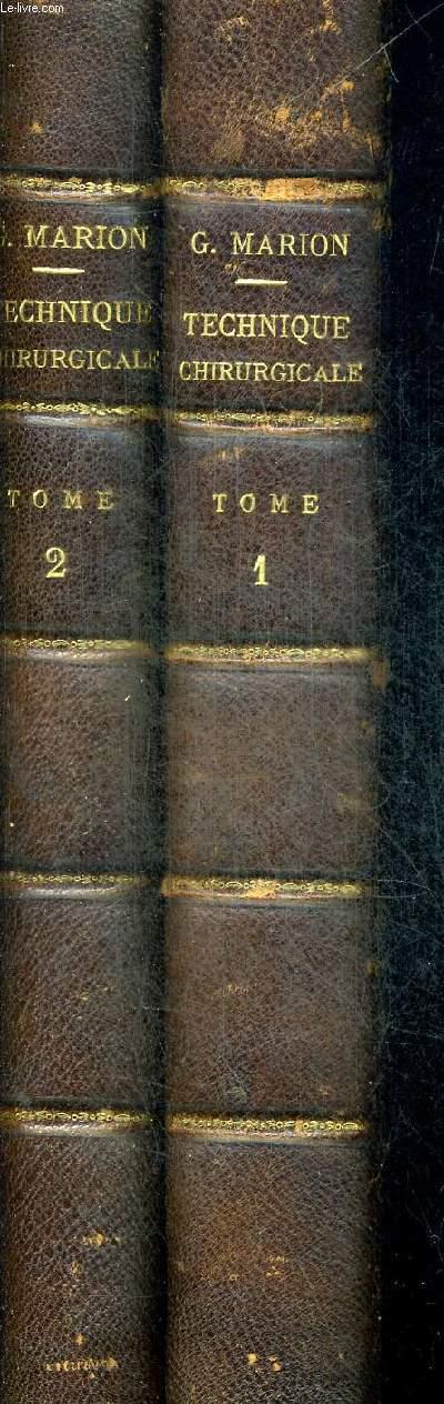 MANUEL DE TECHNIQUE CHIRURGICALE EN 2 TOMES. TOME 1 + TOME2. CINQUIEME EDITION AVEC 1355 FIGURES DANS LE TEXTE ET 53 PLANCHES EN COULEUR HORS TEXTE