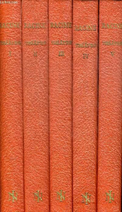 THEATRE DE RACINE EN 5 VOLUMES. COLLECTION NATIONALE DES CLASSIQUES FRANCAIS. TEXTE ETABLI ET ANNOTE PIERRE MELESE. DIRECTEUR LITTERAIRE RENE GROOS. GRAVURES SUR BOIS DE VALENTIN LE CAMPION