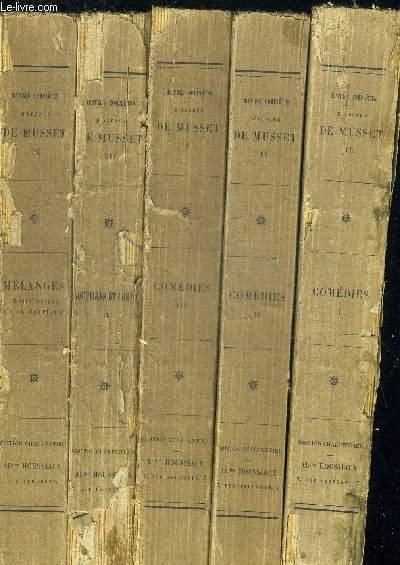 OEUVRES COMPELTES DE ALFRED DE MUSSET 5 VOLUMES. TOME 3 COMEDIES 1 / TOME 4 COMEDIES 2 / TOME 5 COMEDIES 3 / TOME 7 NOUVELLES ET CONTES 2 / TOME 9 MELANGES DE LITTERATURE ET DE CRITIQUE