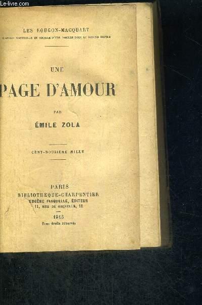 UNE PAGE D'AMOUR - CENT-DOUZE MILLE - LE ROUGON MACQUART
