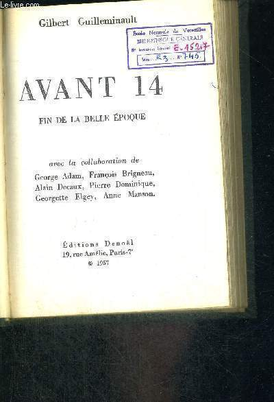 AVANT 14 - FIN DE LA BELLE EPOQUE