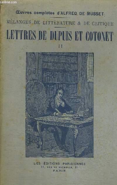 LETTRES DE DUPUIS ET COTONET - TOME 2