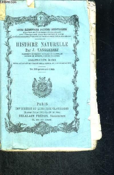 HISTOIRE NATURELLE - COURS ELEMENTAIRE D'ETUDES SCIENTIFIQUES