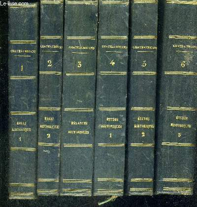 OEUVRES COMPLETES DE M. LE VICOMTE DE CHATEAUBRIAND -19 VOLUMES -TOMES 1 A 9 - TOMES 11 A 15 - TOMES 18 A 22